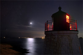 Castle Hill Light with Crescent Moon