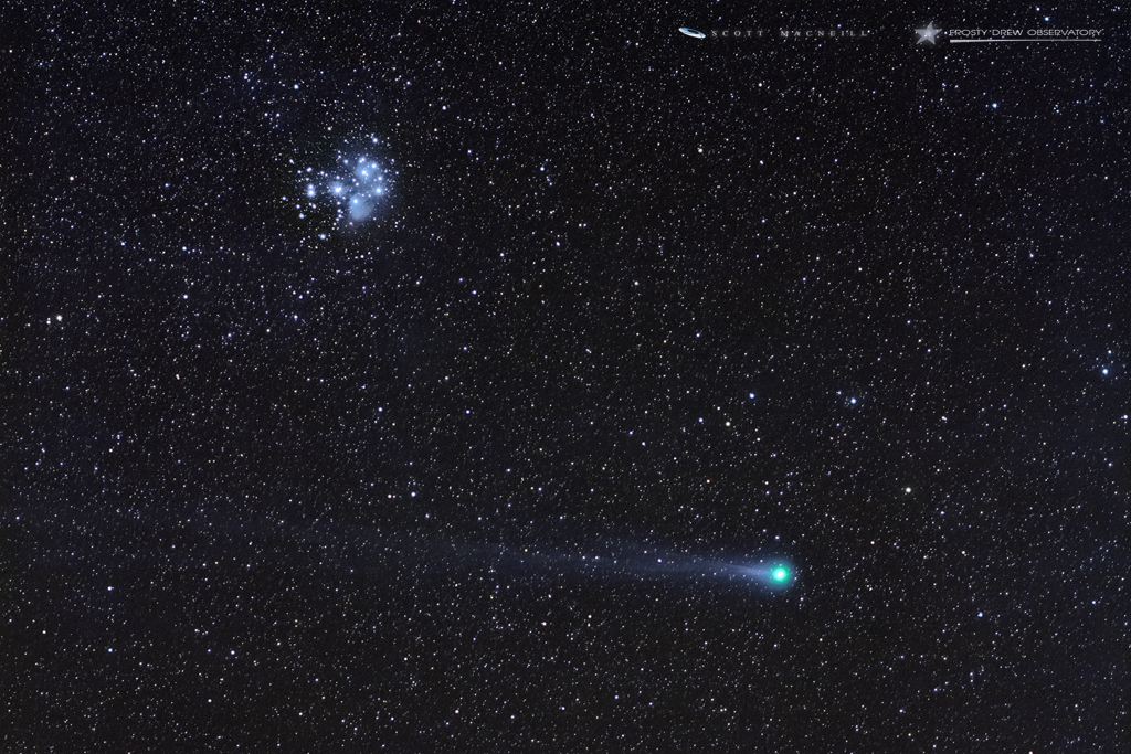 Comet C/2014 Q2 Lovejoy and Seven Sisters