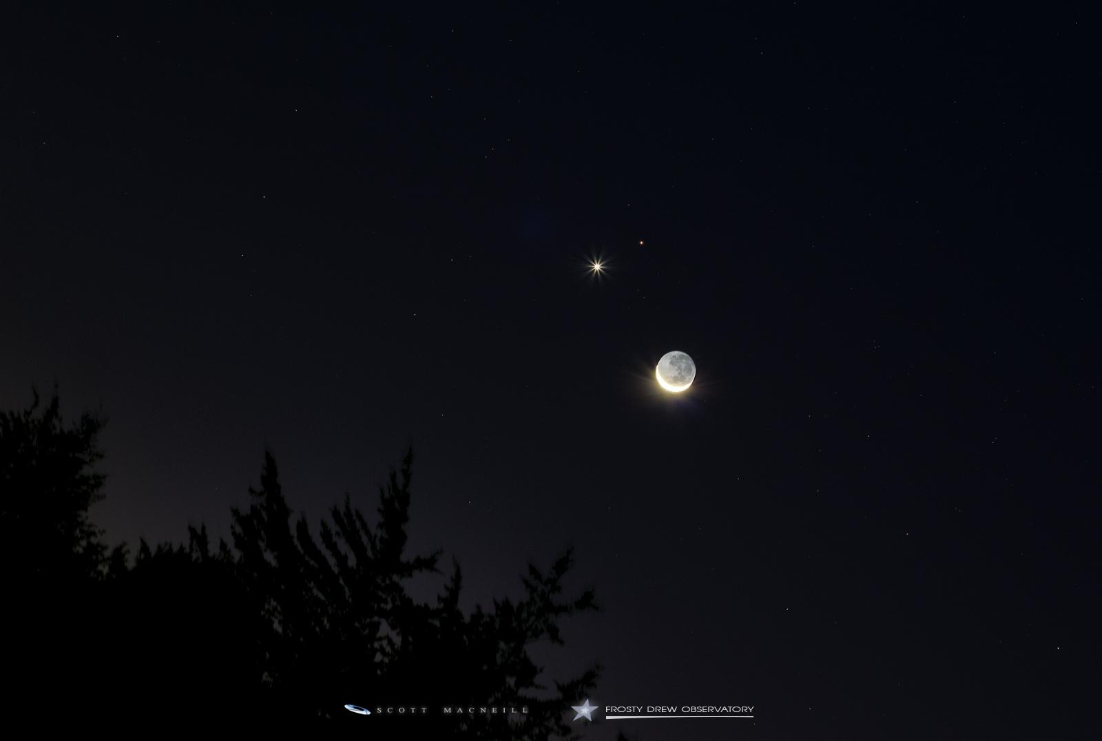 Venus, Mars, and the 4% Crescent Moon: A Dance : Exit Pupil