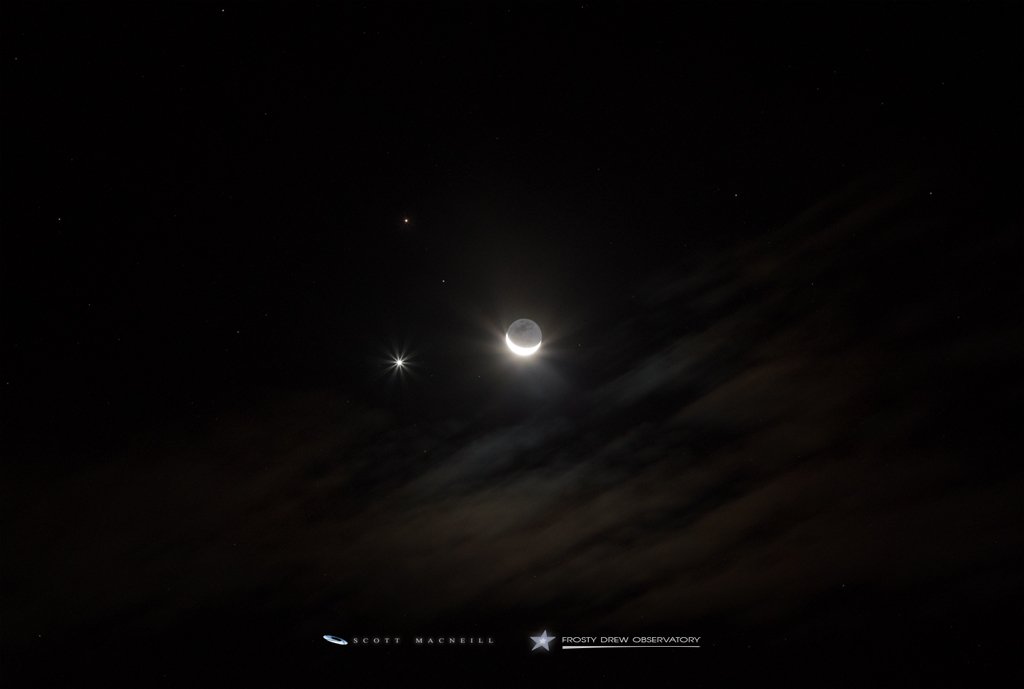Venus, Mars, and the Crescent Moon in Conjunction